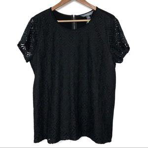 NWT Market & Spruce Black Hans Crochet Front Top